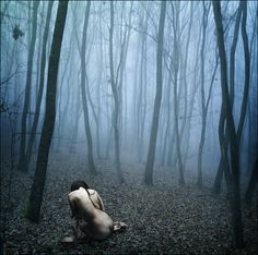 Clearly a werewolf. Why else would you be naked in the woods? It looks freekin cold.