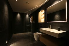 Bathroom lighting design by John Cullen Lighting Contemporary Bathroom Lighting, Bathroom Lighting Design, Contemporary Shower, Interior Lighting, Lighting Ideas, Under Cupboard Lighting, Cupboard Lights, Cosy Bathroom, Bathroom Toilets