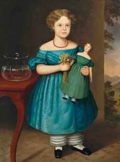 1840 girls dress | ... , 1815–1855) Amy Philpot in a Blue Dress wiwth Doll and Goldfish
