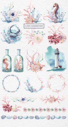 Watercolor Sea, Watercolor Images, Watercolor Illustration, Watercolor Paintings, Nautical Wedding Invitations, Nautical Design, Oeuvre D'art, Art Inspo, Sea Shells