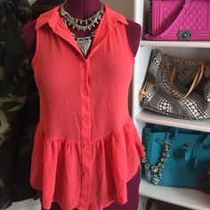 CCO SALE: Coral sheer chiffon peplum top Adorable sleeveless peplum-style button down top. Light and flowy with a collar. Perfect for the summer! Selling this same top in yellow. Bundle for a discount! Charlotte Russe Tops