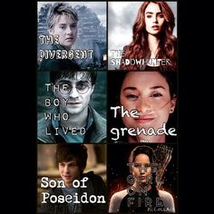 Tris Prior, Harry Potter, Percy Jackson, Clary Fray, Hazel Grace Lancaster, and Katniss Everdeen