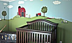 My little Wyatts Room! All painted up in farm theme :) Almost finished!