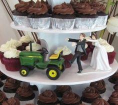 Wedding Cake Topper John Deere Green Tractor Themed w/ Bridal Garter ...