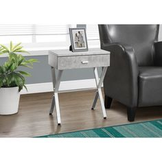 Grey Cement/ Chrome Metal Accent Table