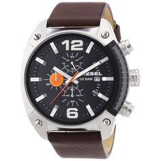 Specially designed for those 'in the know', this premier Diesel timepiece is the perfect accessory for the fashion-forward aficionado. This stylish watch features a black dial accented with silver han