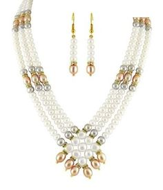 Sri Jagdamba Pearls Classy Pearls & CZ Necklace Set: Buy Sri Jagdamba Pearls Classy Pearls & CZ Necklace Set Online in India on Snapdeal