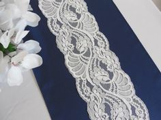 Wedding table runner navy blue with lace by YourWeddingSupply, $15.00