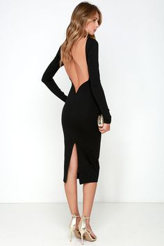 Va Va Voom Black Backless Midi Dress at Lulus.com!