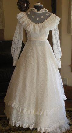 "1960's Vintage ""Hippie"" Wedding Dress - Size 3/4 by FoundnFancy on Etsy"