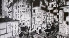 Two Point Perspective Drawing Linear Perspective Art, Two Point Perspective City, 2 Point Perspective Drawing, Perspective Room, Perspective Images, Perspective Photography, Cityscape Drawing, City Drawing, New York Drawing