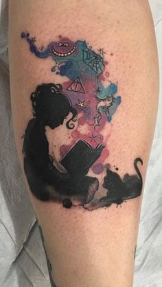 watercolor reading tattoo: Dr Seus, Alice in Wonderland, Charlotte's Webb, Harry Potter, and cat
