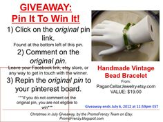GIVEAWAY - Pin It To Win It: To Win This Item from PaganCellarJewelry, follow the instructions: Click on ORIGINAL pin, comment leaving a way to contact you, REPIN the ORIGINAL Pin! Contest ends 7/6/12 @ 11:59pm EST. Winner announced 7/7/12. #promofrenzy #contest #giveaway