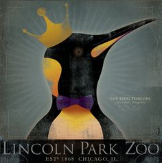 The King Penguin Lincoln Park Zoo Chicago vintage style artwork on canvas by stephen fowler King Penguin, Penguin Art, Penguin Parade, Lincoln Park Zoo Chicago, Canvas Artwork, Canvas Prints, Digital Texture, Baby Koala, Great King
