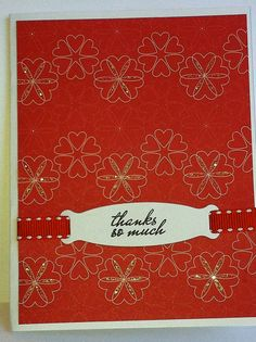 Red glitter heart thank you card