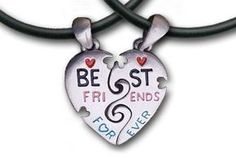 TWO Hearts - Best Friends Necklace, Pewter Friendship, 2 Pendants, 2 Thick PVC Necklaces Bff, 2-piece Best Friends, Break Apart - Classic Best Friends Split Heart Style, Best Friends Necklace Pendants, http://www.amazon.com/dp/B00CS57BBG/ref=cm_sw_r_pi_awdl_C2zTsb13SP5AT