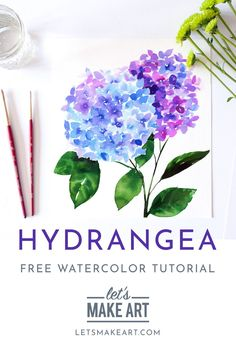 Hydrangea Watercolor Kit Tiny petals create a one of the most beloved flowers. Watercolor Flowers Tutorial, Watercolor Beginner, Watercolor Paintings For Beginners, Watercolor Brush Pen, Watercolor Projects, Watercolour Tutorials, Watercolor Cards, Flower Tutorial, Floral Watercolor
