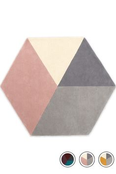 MADE Medium Hexagon Wool Rug 150 x 180cm, Pink & Grey. Express delivery. Hagen Floor Rugs Collection from MADE.COM...