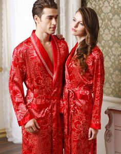 Authentic rose sent men and ladies and couples long sleeve Nightgown sleepwear  silk bathrobe housedresses 8702 ab5bd322d