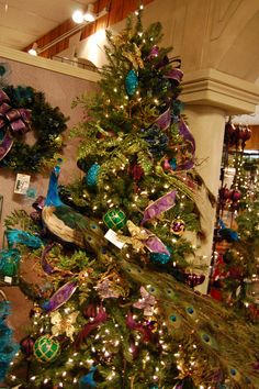 Peacock christmas tree - green blue purple and gold