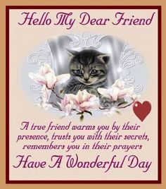 Hello My Dear Friend have A Wonderful Day friends morning friend friendship quotes good morning morning quotes good morning quotes morning quote good morning quote good morning quotes for friends best good morning quotes Good Morning Dear Friend, Morning Quotes For Friends, Cute Good Morning Quotes, My Dear Friend, Best Friend Quotes, Nice Quotes, Friendship Images, Friend Friendship, Friendship Quotes