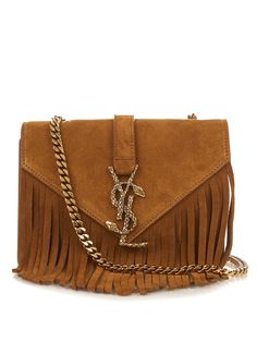 yves saint laurent monogram quilted fringed suede shoulder bag