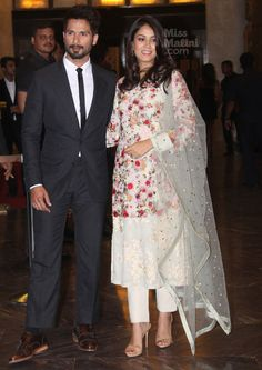 Shahid Kapoor and Mira Rajput at Preity Zinta-Gene Goodenough Wedding Reception : Shahid looked good in a suit, was definitely presentable but was easily overshadowed by his wife. I do wish the pants were teeny-tiny bit longer, though. As for Mira,. Pakistani Dresses, Indian Dresses, Indian Outfits, Indian Clothes, Kurta Designs, Blouse Designs, Mira Rajput, Desi Wedding Dresses, Indian Designer Suits