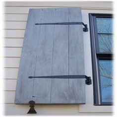 Board & Batten Exterior Shutters - Palmetto Window Fashions - Shutters, Shades, Blinds & Drapery - G. Wooden Shutters Exterior, Pallet Shutters, Outdoor Shutters, House Shutters, Exterior Paint, Diy Exterior, Ranch Exterior, Stone Exterior, Black Shutters