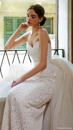 STEPHANIE ALLIN bridal 2017 strapless sweetheart trumpet lace wedding dress (annabel) fv overskirt train #bridal #wedding #weddingdress #weddinggown #bridalgown #dreamgown #dreamdress #engaged #inspiration #bridalinspiration #weddinginspiration #sweetheart #lace #weddingdresses #strapless
