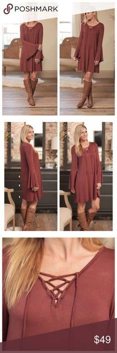 Saturday Sale 🍂🍁Boho Bell Lace up Dress🍁🍂 Now Available!                                                  Made in the U.S.A.                                                    95% rayon, 5% spandex                                          Small (2-4) Medium (6-8) Large (10-12)                  Will take reasonable offers :) Infinity Raine Dresses Long Sleeve