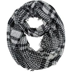Black & White Lightweight Plaid Knit Circle Scarf With Fringe (£15) ❤ liked on Polyvore featuring accessories, scarves, lightweight, knit infinity scarves, knit scarves, infinity scarf, plaid infinity scarves and fringe infinity scarf