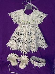 Купить Платье ажурное Морозные Узоры из хлопка крючком ангел - нарядное платье, Праздничный наряд