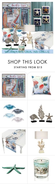 """""""DECORATE WITH CORAL AND SHELLS"""" by nicolevalents ❤ liked on Polyvore featuring interior, interiors, interior design, home, home decor, interior decorating, Frog Hill Designs, Fitz and Floyd, Grandin Road and Antigua"""