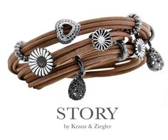 Genuine leather wrap bracelets with sterling silver charms.