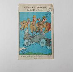 Vintage Comic Postcard Private Breger by Sgt. Military Humor, Vintage Comics, One Pic, Ephemera, Vintage Antiques, Postcards, Paper, Art, Art Background