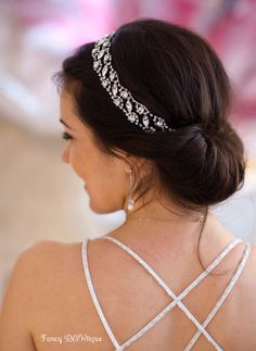 Love the headpiece! Bridal rhinestone headpiece,crystal headband,Wedding Headband, Downton Abbey wedding,The Great Gatsby wedding, tie on-Adele
