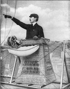 Alberto Santos Dumont in his personal dirigible