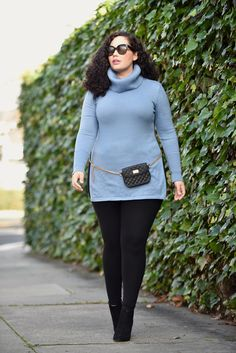 Turtle Neck, Leggings, Belted Chain Bag, Booties (plus size fashion blogger Tanesha Awasthi)
