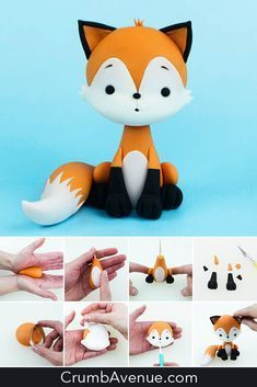 Fondant Figures Tutorial, Cake Topper Tutorial, Fondant Animals Tutorial, Fimo Kawaii, Fox Cake, Decoration Patisserie, Woodland Cake, Fondant Cake Toppers, Sugar Craft