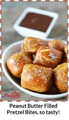 Butter Filled Pretzel Bites... Homemade soft pretzel bites filled ...