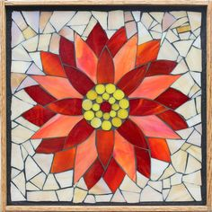 Student Work from a Kasia Mosaics Stained Glass Mosaic Flower Workshop - Water Lily by Vicki. Sign up for a class near you via www.kasiamosaics.com