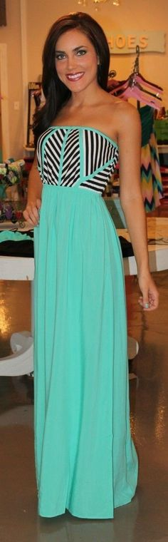 Strapless mint long maxi dress
