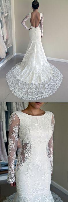#wedding #lace 2016 wedding dresses, fall wedding dresses, white lace wedding dresses, mermaid long wedding dress, backless wedding dress, long sleeves wedding dresses