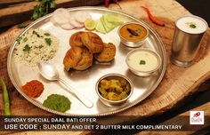 Sunday Special DAAL BATI OFFER. USE COUPON CODE : SUNDAY & Get 2 Bottles Butter Milk Complimentary. Order Now : WWW.OYE24.COM OR CALL 0731-4711711  #Oye24 #Offers #complimentary #sunday #daalbati #sundayspecialmeal #Dalbatithali #Orderonline #freehomedelivery #lunch #freefooddelivery #Foodie #Indore