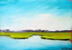 Coastal marsh painting Blue Green Marsh 5x7 by NancyHughesMiller, $85.00