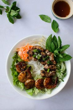 Vietnamese Vermicelli Bowl with Grilled Pork and Shrimp | Sprig and Flours (can easily make this gf)
