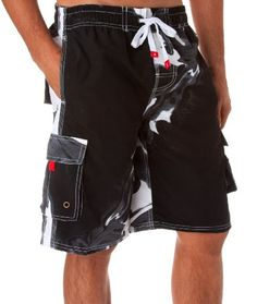634302722f4cca Black Friday - Mens Multi Color Wave Design Skate Surf Board Short   Swim  Trunks (Various Colors And Sizes ) - Black Medium from Sakkas Cyber Monday
