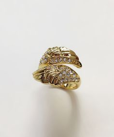 Take a look at this Crystal & Gold Wings Ring by Amabel Designs on #zulily today!