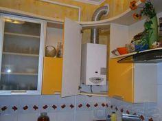 дизайн маленькой угловой кухни газовой колонкой - Поиск в Google