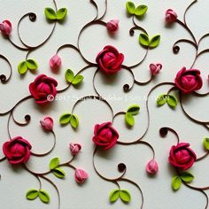Best 12 Spectacular pietra dura inspired quilling art by artist Sayali Khedekar. Quilled Roses, Paper Quilling Flowers, Paper Quilling Patterns, Quilled Paper Art, Quilling Paper Craft, Paper Crafts, Diy And Crafts, Diy Paper, Arts And Crafts